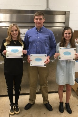 Clinton Chamber of Commerce Scholarship Awards - Taylor Huggins, Benton Berry, Madison Thorn